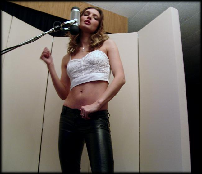 Liquid Purr vocalist, Cristen with our AEA-R84 ribbon mic